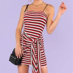 Dresses & Skirts - Knot Front Striped Ribbed Cami Dress